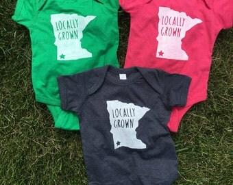 Minnesota bodysuit   Locally Grown Customizable creeper   trendy baby gift