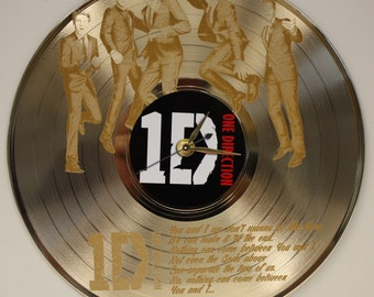 One Direction Laser Etched Gold Vinyl LP Record Battery Operated Wall Clock - Great Gift For Him - Great Gift For Her - Great Gift For Teen