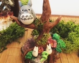 My neighbour Totoro figure, minerals, totoro, studio ghibli, amethyst, polymer clay figure, ooak, clearance sale, kawaii, terrarium figurine