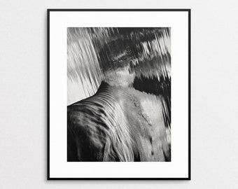 Herb Ritts - 11x14 Original Vintage Book Print - Waterfall - Hollywood 1988 - Male Fashion Photography - Modern Wall Art - Black and White