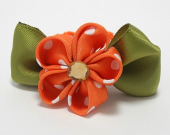 Green and Orange Flower Hair Tie