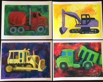 Set of 4 Truck Themed Prints