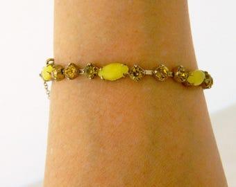 Moonstone Tennis Bracelet, Vintage Bracelet, Yellow Rhinestone, Delicate Bracelet, 60s Bracelet, Vintage Bracelet, Retro Bracelet