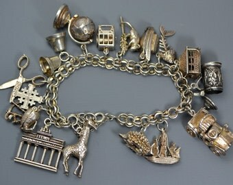 1960s STERLING SILVER Heavy 71g FULL English Charm Bracelet - Lots Open/Move