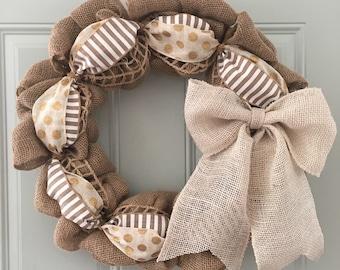 Neutral Wreath, Summer Wreath, Spring Wreath, Year Round Wreath, Burlap Wreath, Monogrammed Wreath, polka dot wreath, Everyday Wreath, white