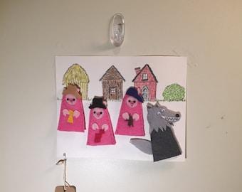 Three Little Pigs Finger Puppet Set