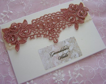 Bridal garter, Bridesmaid garter, Garter Cream and Rosewood