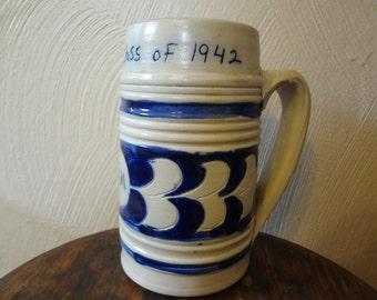 Large Vintage Hand Thrown Salt Glazed Williamsburg Pottery William and Mary Design Coffee/Tea Mug 1967
