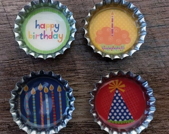 Happy Birthday bottle cap magnets refrigerator magnets, party favors