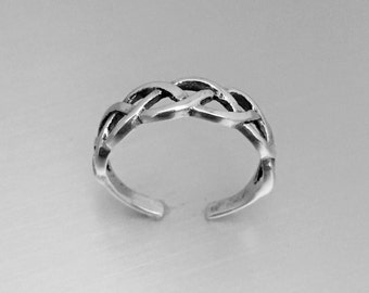 Sterling Silver Celtic Weave Toe Ring, Midi Ring, Pinky Ring, Knuckle Ring, Adjustable Ring