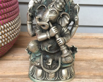 Ganesh,Ganesha, silver over brass meditation statue