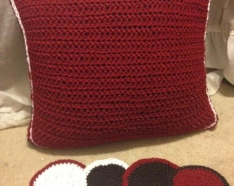 Crochet Throw Pillow & Coasters