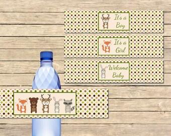 Woodland Animals Printable Water Bottle Labels, Forest Animals DIY Water Bottle Labels, Woodland Animals Shower, Instant Download, 003-A