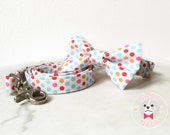 Confetti Bow Tie Collar Set with Leash for Dogs/Bow Tie Dog Collar/Wedding Gift/Easter/Festive/Birthday/Cute Dog Collar/Polka Dots