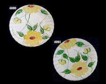 "Blue Ridge Plate SUNFLOWER 9.25"" Lunch (Buy 1 or 2) Southern Potteries Colonial Dinnerware Yellow Floral (B28) 6080 6081"