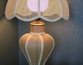 Two Mid Century Cane Lamps ( Pair)