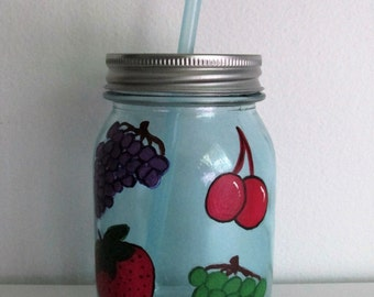 Hand-Painted Mason Jar Sippy Cup with Straw, Fruit-themed