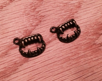 Set of 2 Fangs Teeth Antique Bronze Charms One Sided Nickel Free Alloy