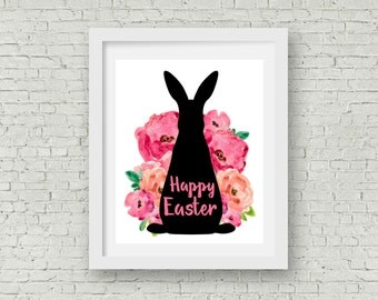 Printable Happy Easter Floral Rabbit wall Art, INSTANT DOWNLOAD, 8x10, Easter Sign