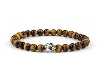 Bracelet, Silver Skull, 6mm Natural Semi-Precious Brown Tiger Eye, Gift mens, Gift women