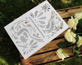 Wedding Card Box Loving Birds-Wedding Gift-Plywood-Love Story Keepsake Box-Wedding money box-Wedding card money holder-White Card Holder