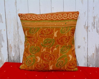 Rust and Green Sequined Saree Pillow Slipcover
