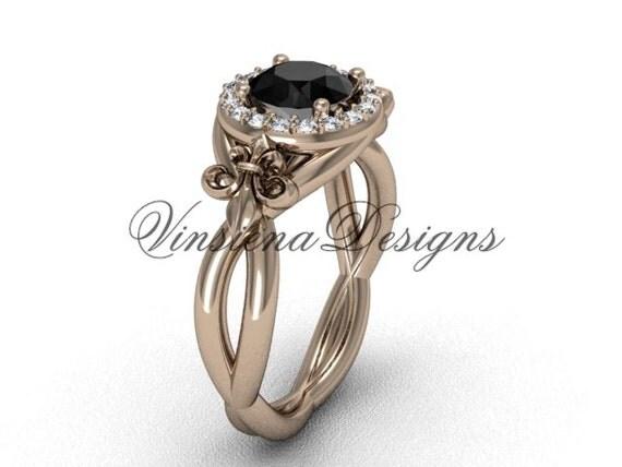 14kt gold fleur de lis engagement ring black