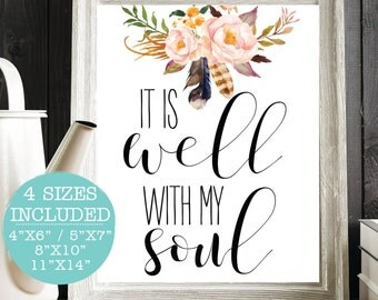 It Is Well With My Soul, Scripture Quote, Bible Verse Art, Christian Printable, Scripture Print, Bible Verse Artwork, Bible Verse Quote Art