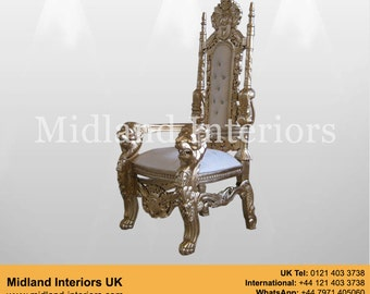 NEW Lion King Queen Throne Chair - Gold & White leather