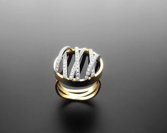 VA011,Diamond Ring,  14k Yellow Gold,  14k White Gold,  Black onyx