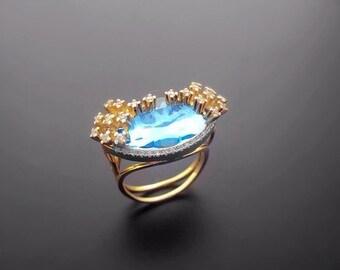 VA014,Diamond Ring,  14k Yellow Gold,  14k White Gold, Nanocrystal