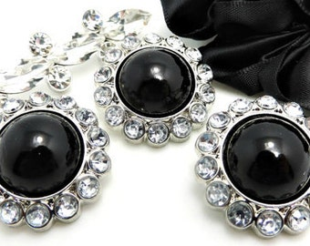 BLACK Pearl Rhinestone Acrylic Buttons W/ Clear Surrounding Rhinestones Brooch Button Bouquet Coat Button Sewing Button 26mm 3185 25P 2R