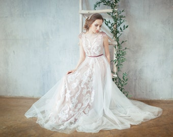 Glen / Pale rose wedding dress / Embroidered shoulders / Open back