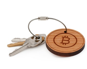 Bitcoin Keychain, Wood Keychain, Custom Keychain, Gift For Him or Her, Wedding Gifts, Groomsman Gifts, and Personalized