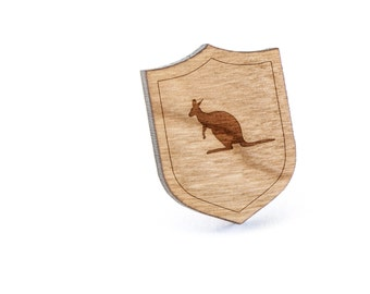 Kangaroo Lapel Pin, Wooden Pin, Wooden Lapel, Gift For Him or Her, Wedding Gifts, Groomsman Gifts, and Personalized