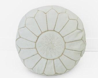 Moroccan Leather Pouf Ottoman, White