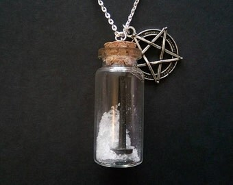 Wiccan Protection Bottle Necklace. Pure Salt, Iron Nail and Pentacle/Pentagram.
