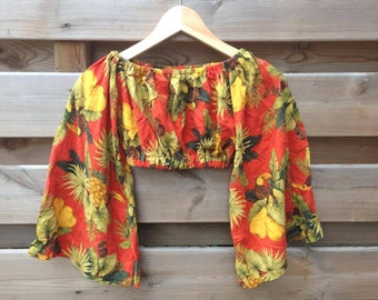 SALE - WOMENS | Bohemian tropical jungle print wide sleeved top | Size S/M - SALE