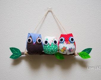 Owl mobile, Owl family- Family of 3