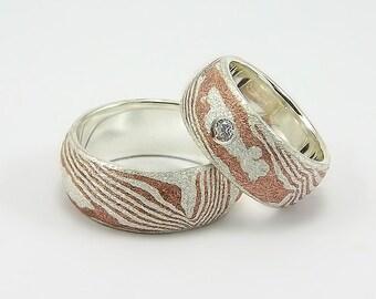 Partner rings / wedding rings Mokume Gane structure 2