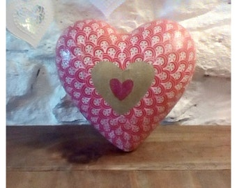 Large hand decorated decoupage heart