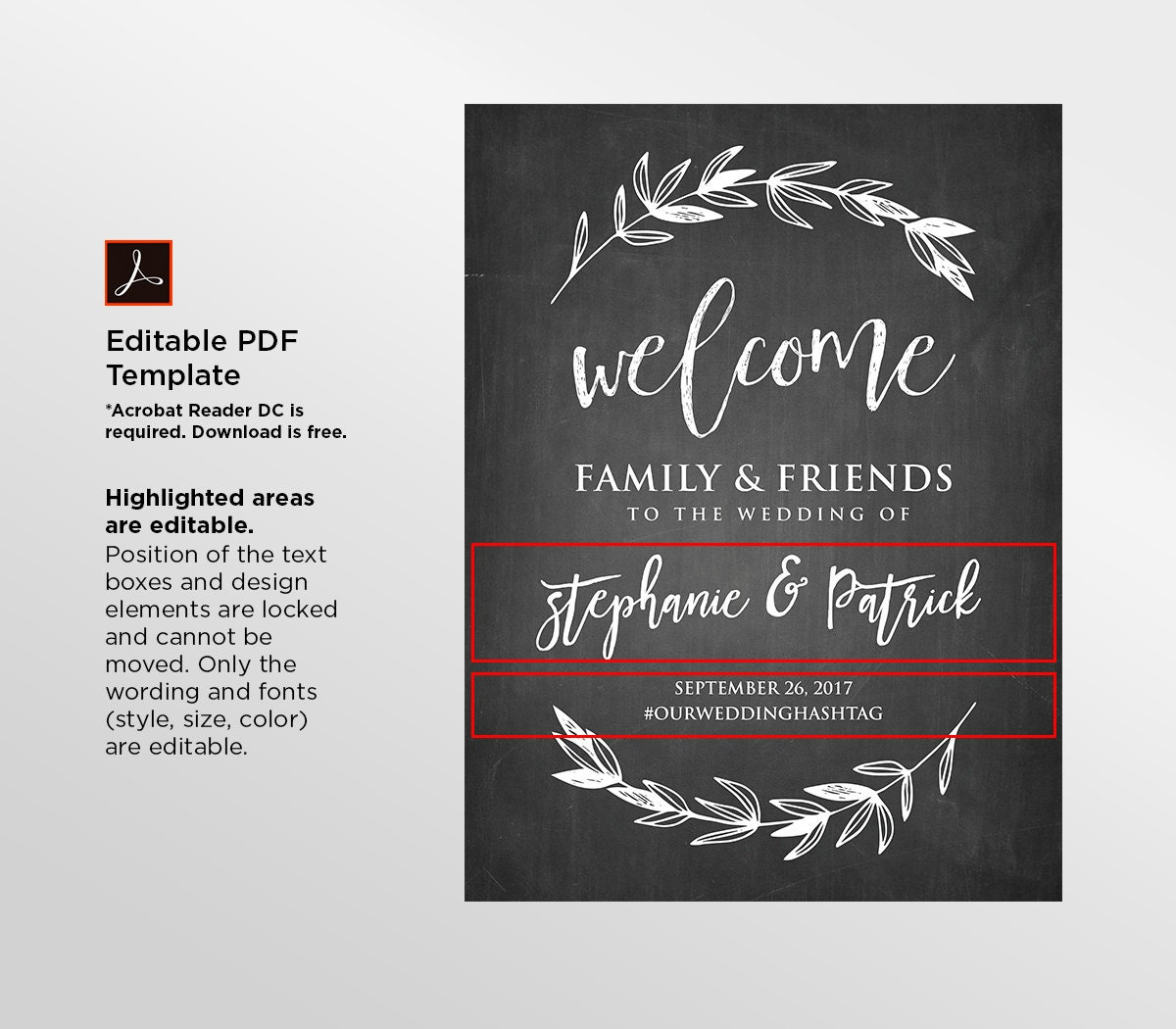printable wedding welcome sign rustic chalkboard wedding digital file instant download. Black Bedroom Furniture Sets. Home Design Ideas