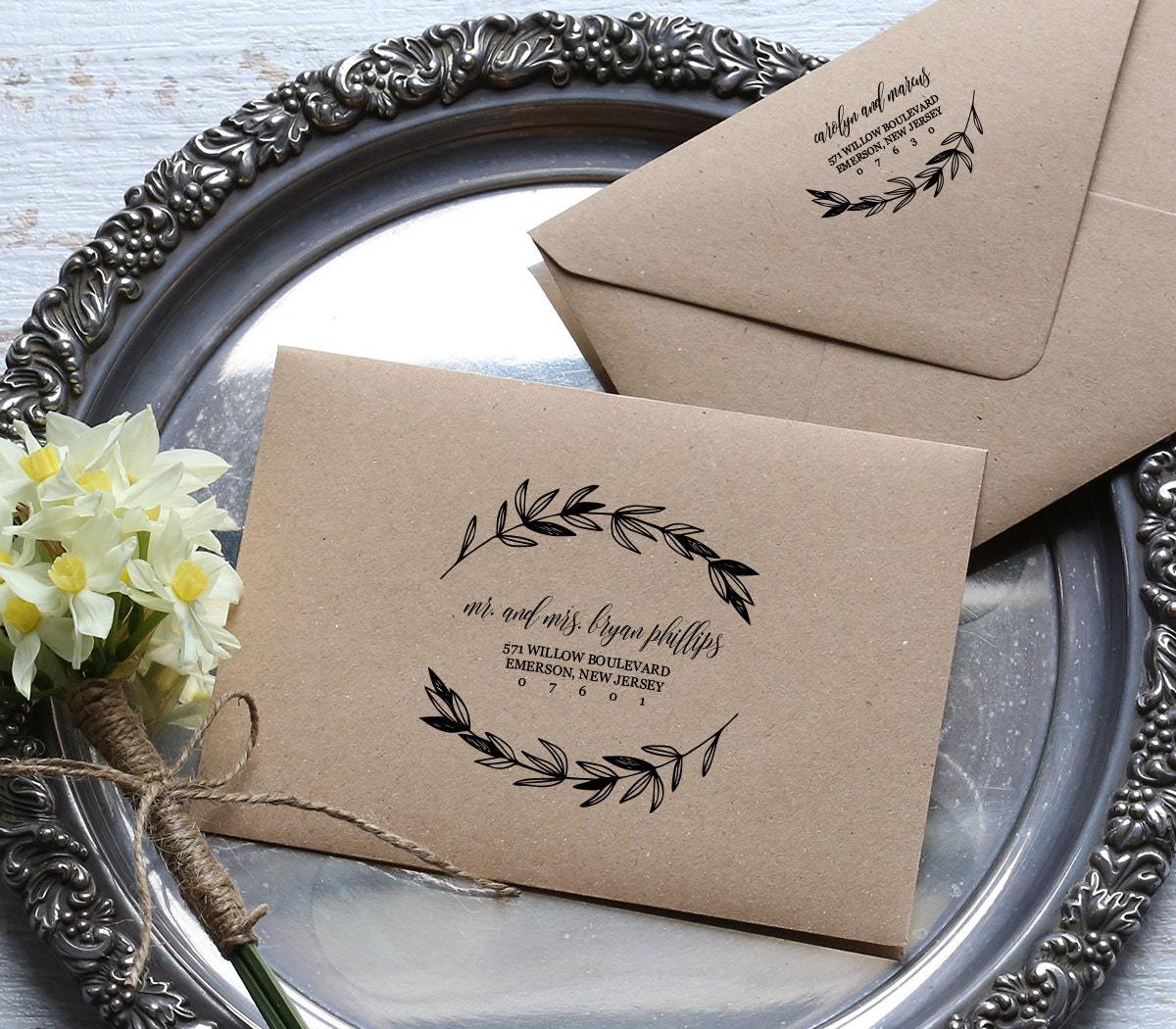 Rustic Wedding Calligraphy Envelope Addressing Template DIY