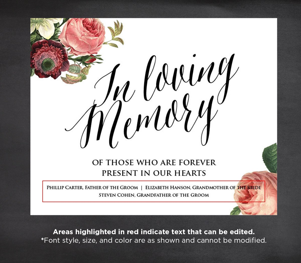 50% Off, In Loving Memory Wedding Sign Template, Editable, Instant ...