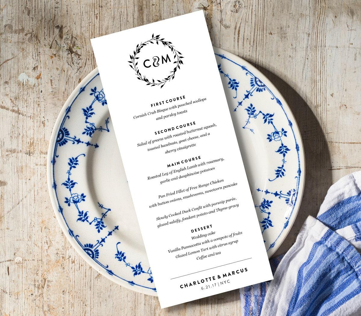 Wedding Menu Card Template, Printable Dinner Menu, Rustic Wreath ...
