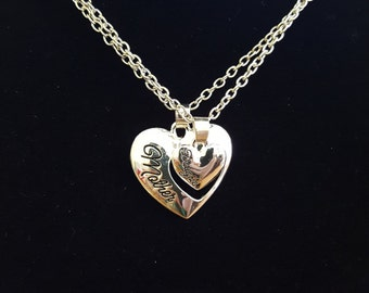 """Lovely Mother's Day Gift Jewelry """"Mother Daughter"""" Heart Cutout Pendant Necklaces set"""