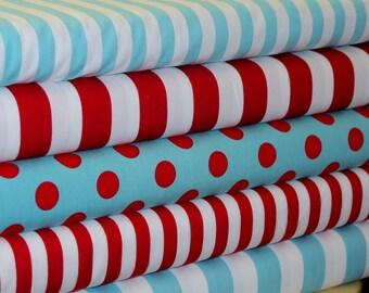 Riley Blake Red and Aqua Fabric Bundle