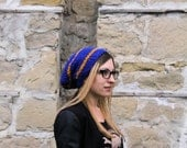 ON SALE Ravenclaw Inspired Toque, blue and bronze, slouchy beanie, winter beanie, winter hat, harry potter, under 50, under 25, nerdy knits