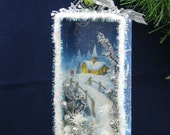 Silent Night Christmas Card Shadowbox Diorama