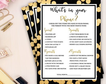 bridal shower printable games, whats in your phone bridal shower game, gold foil chic bridal shower game, bachelorette party, wedding shower